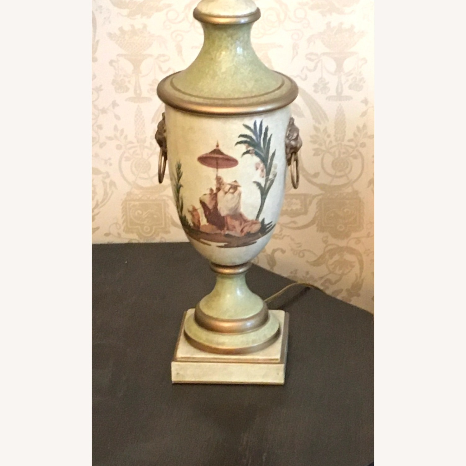 PAIR of Hand Painted Asian Theme Lamps Silk Shades - image-3