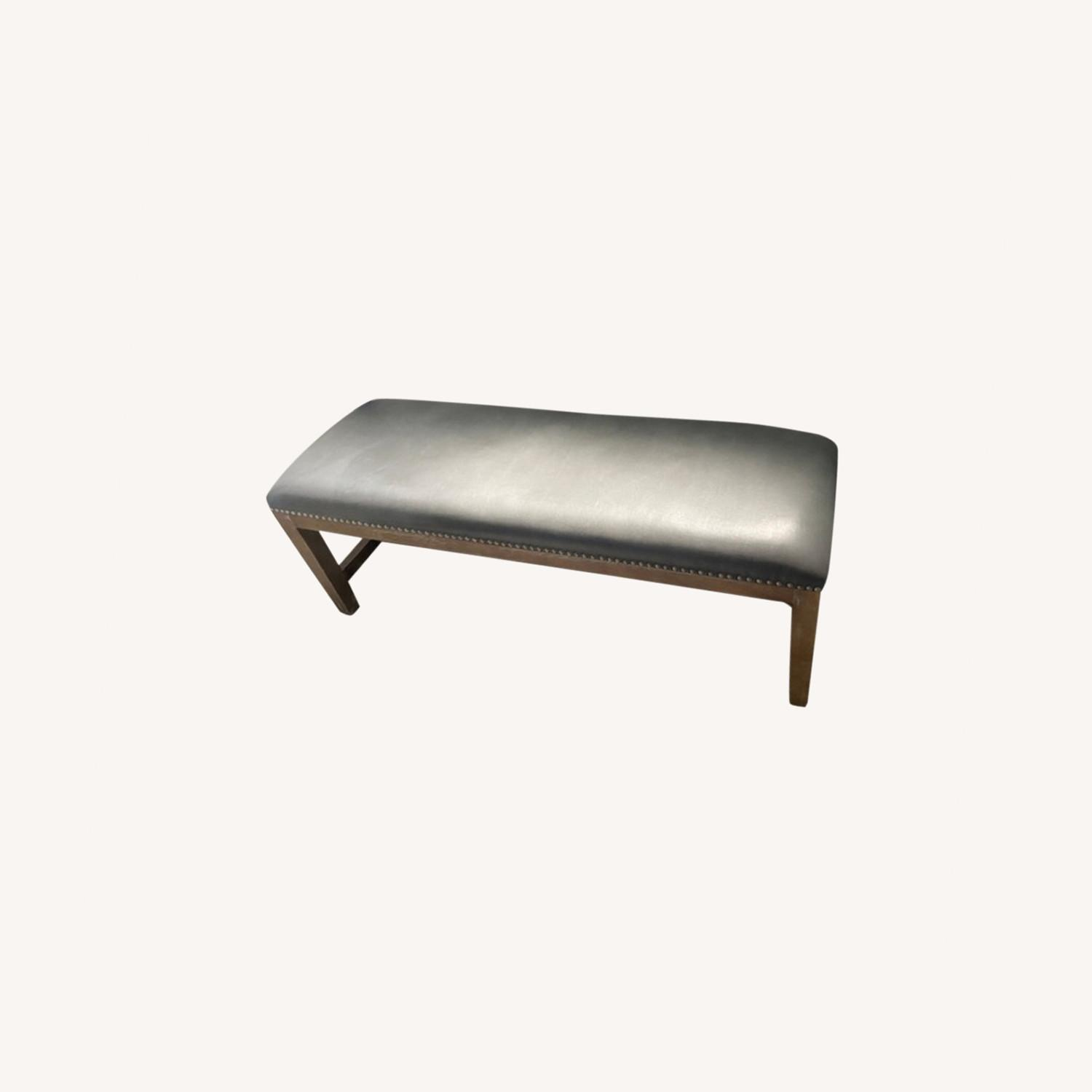 Gray Leather Bench with Studs - image-0
