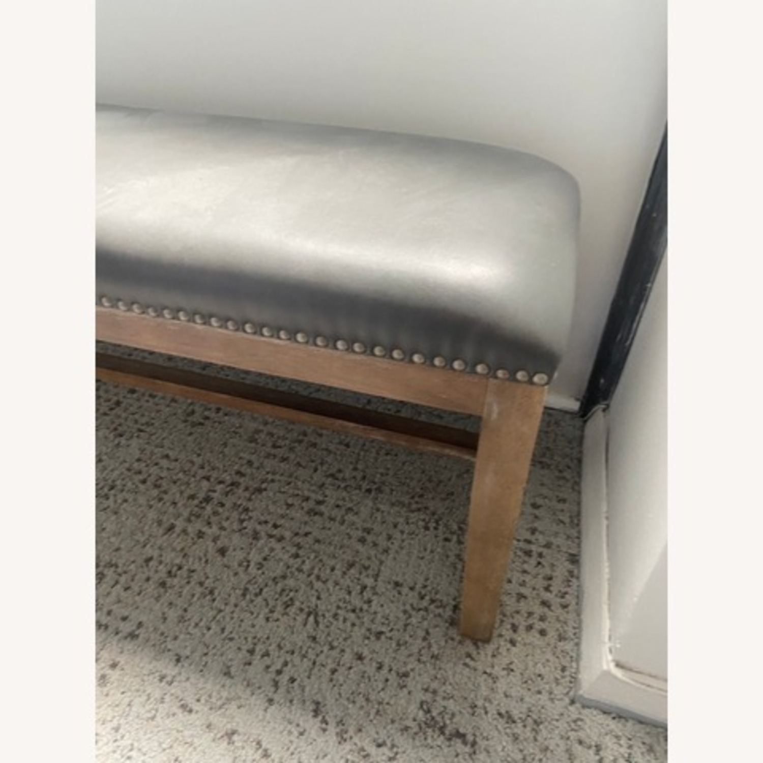 Gray Leather Bench with Studs - image-2