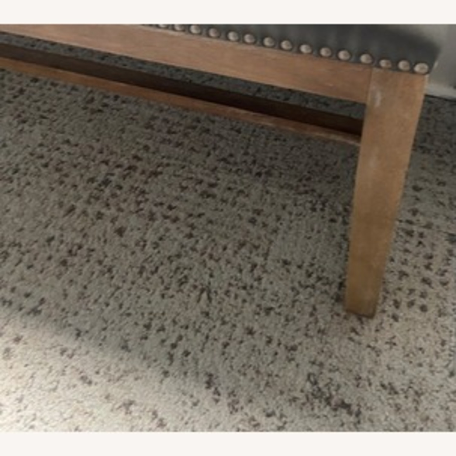 Gray Leather Bench with Studs - image-3