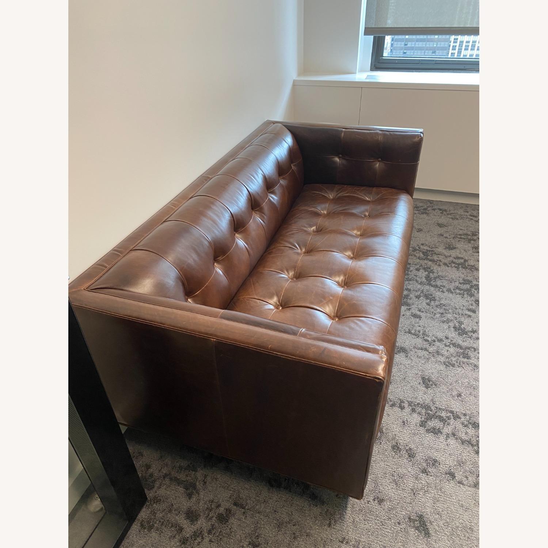 Restoration Hardware Madison Leather Sofa - image-6