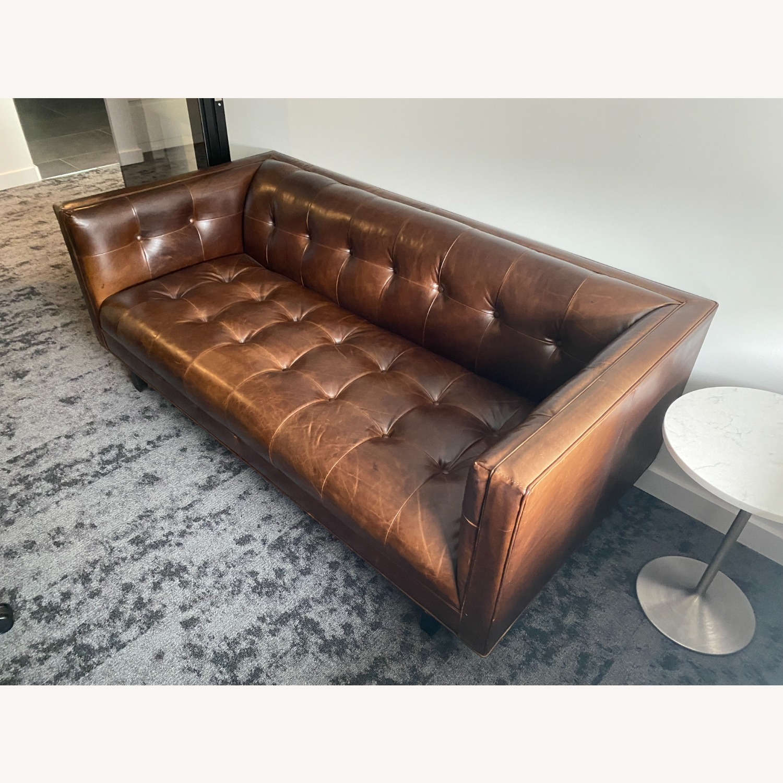 Restoration Hardware Madison Leather Sofa - image-2