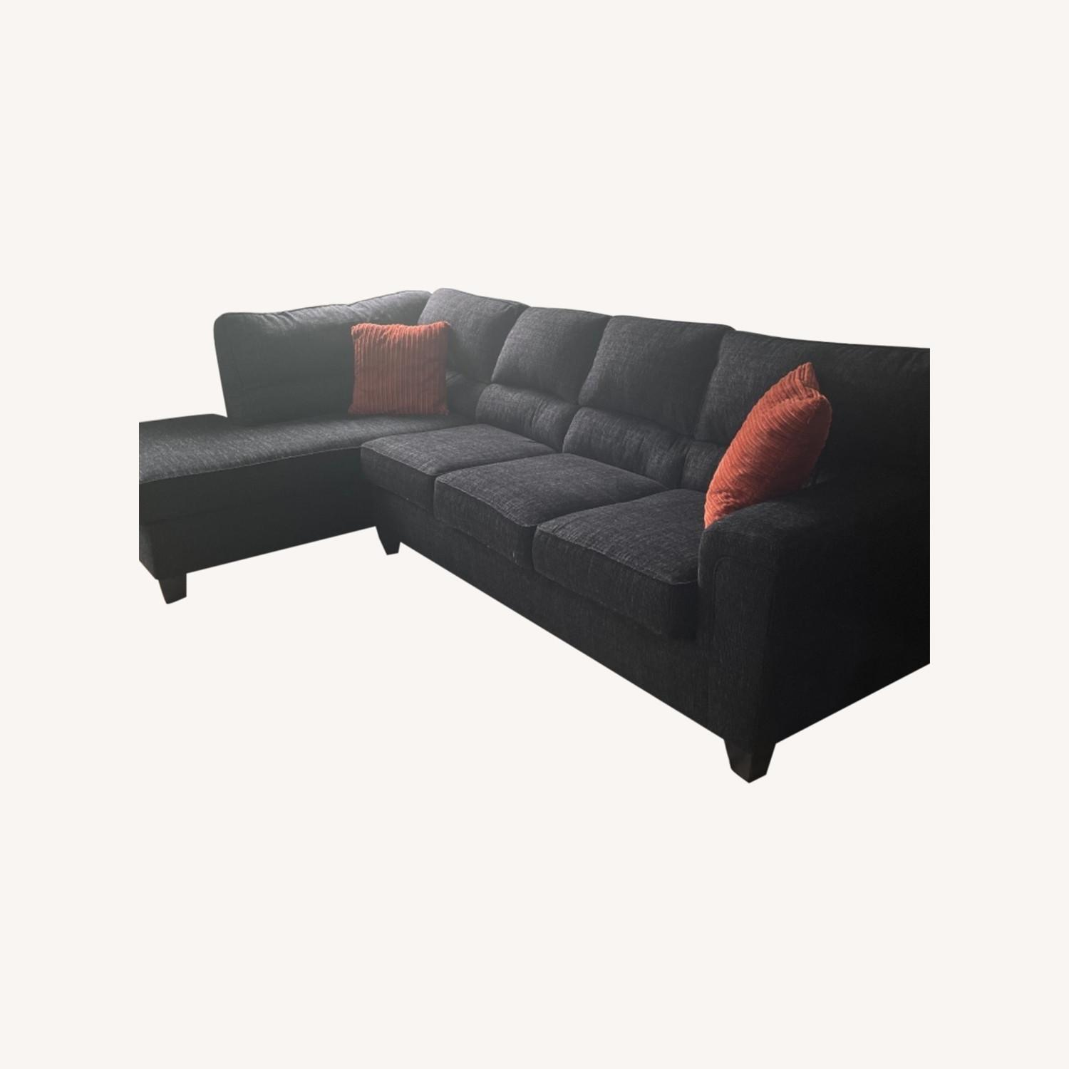Charcoal Gray Couch w/ Sleeper Side - image-0
