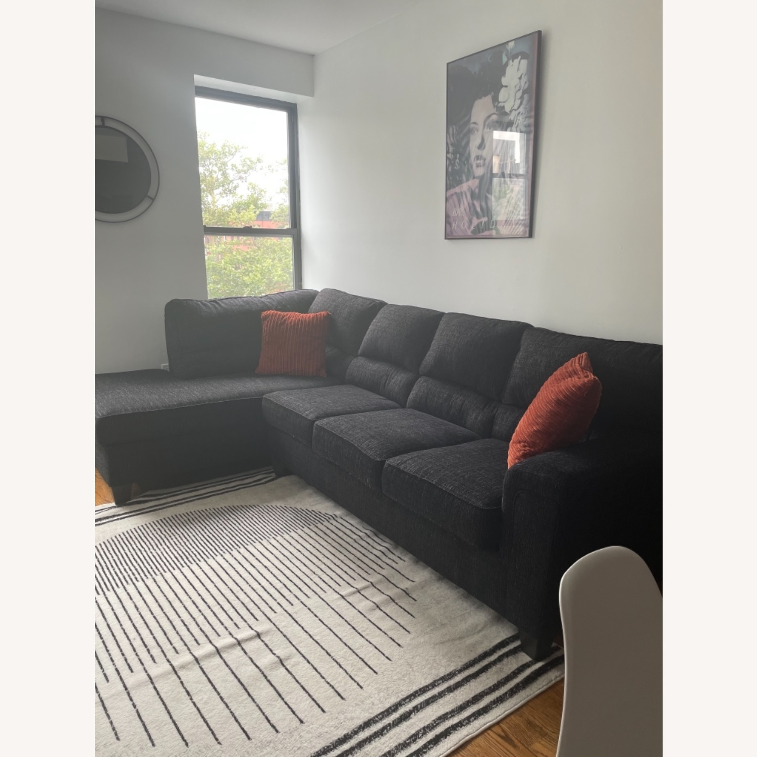 Charcoal Gray Couch w/ Sleeper Side - image-3