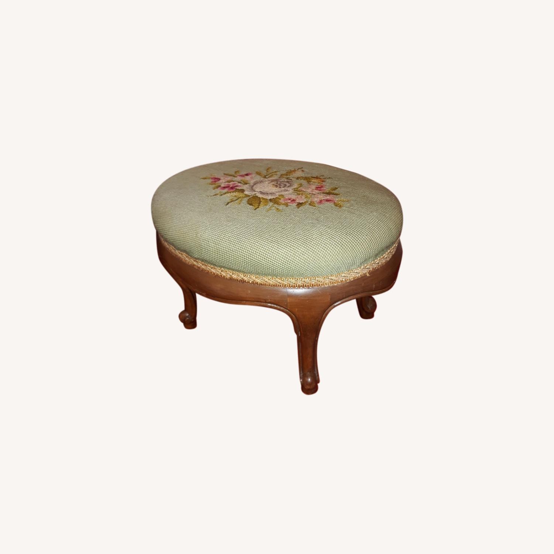 Antique French Needlepoint Footstool - image-0