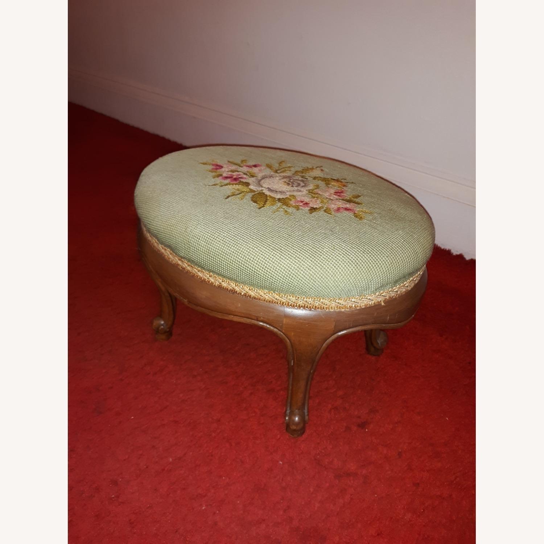 Antique French Needlepoint Footstool - image-1