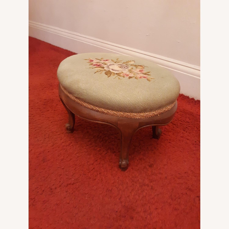 Antique French Needlepoint Footstool - image-2