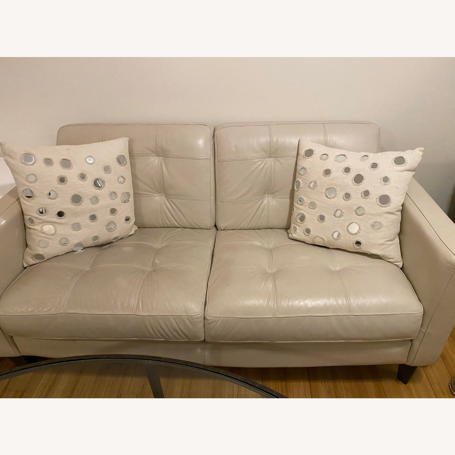Macy's Leather Tufted Loveseat - image-5