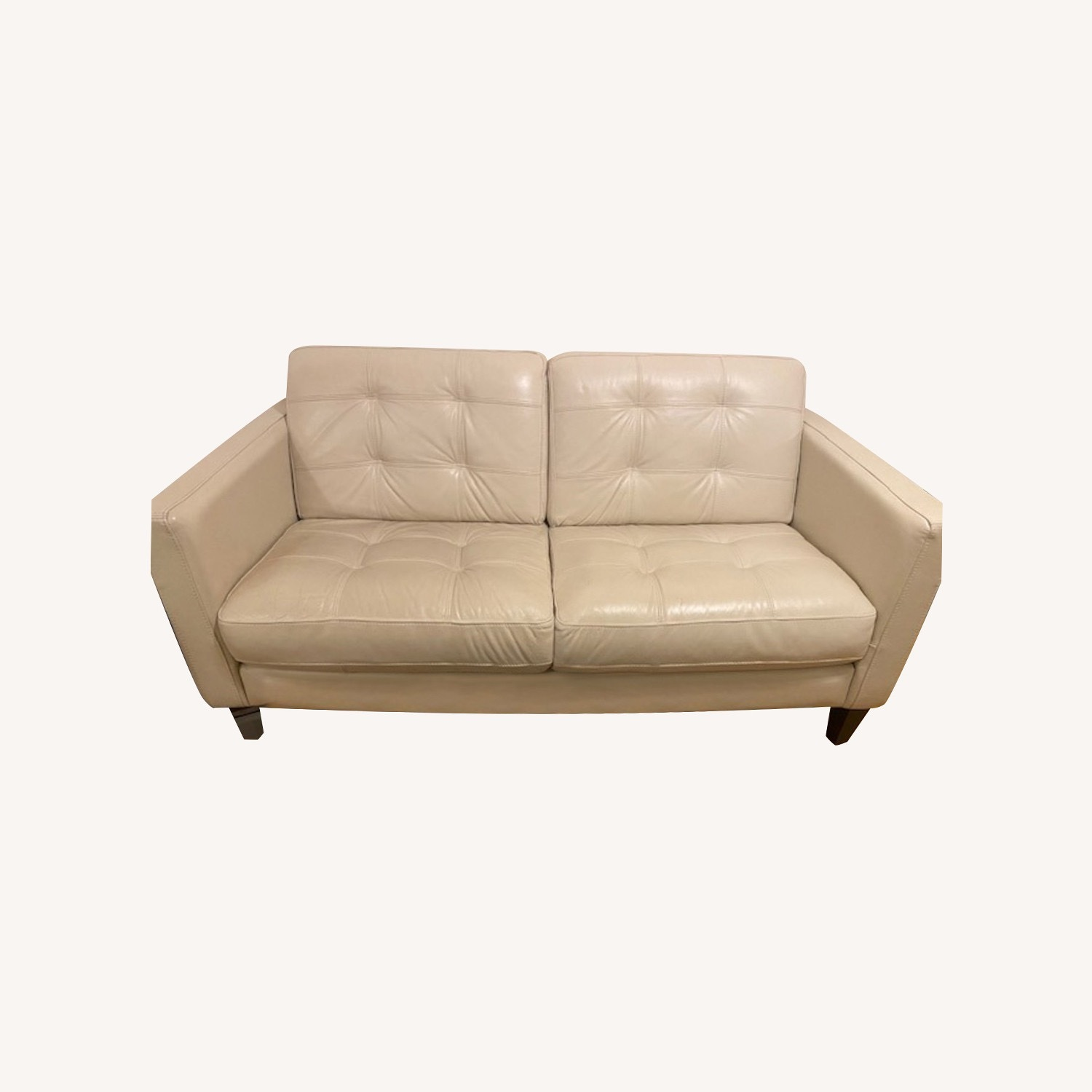 Macy's Leather Tufted Loveseat - image-0