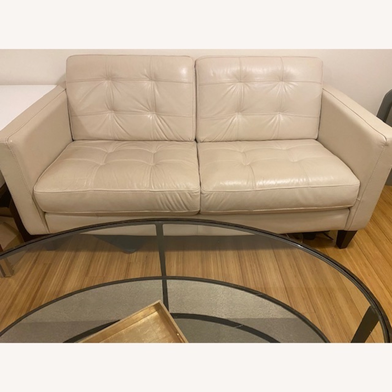 Macy's Leather Tufted Loveseat - image-4