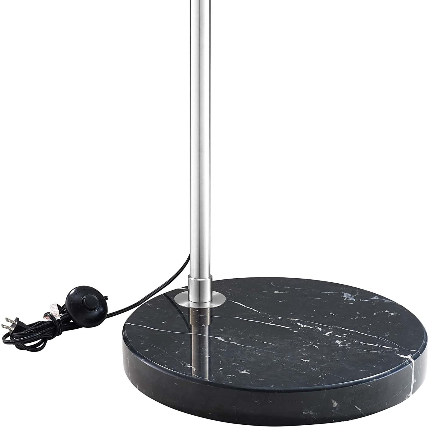 Modway Silver Modern Arc Lamp with Black Marble Base - image-3