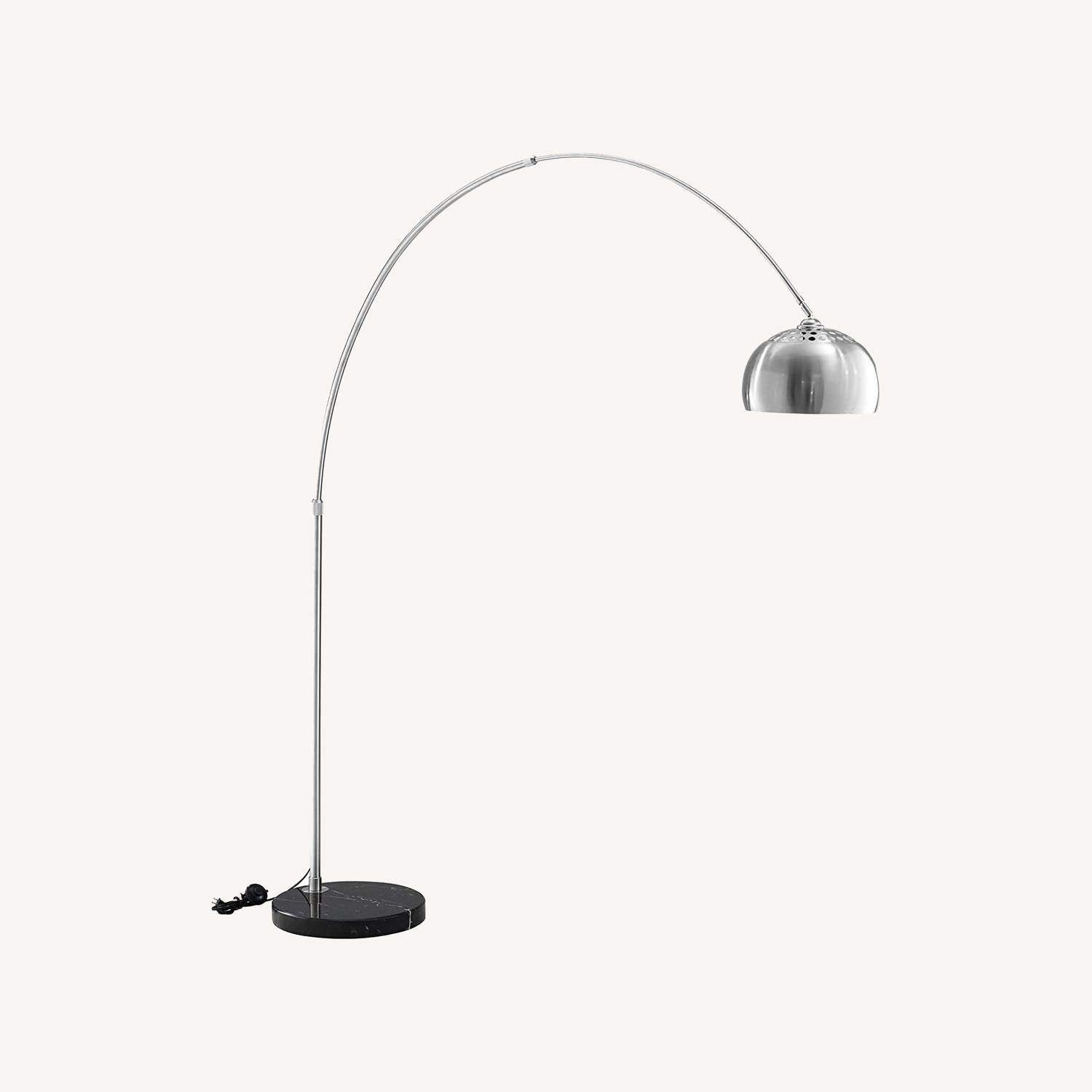 Modway Silver Modern Arc Lamp with Black Marble Base - image-0