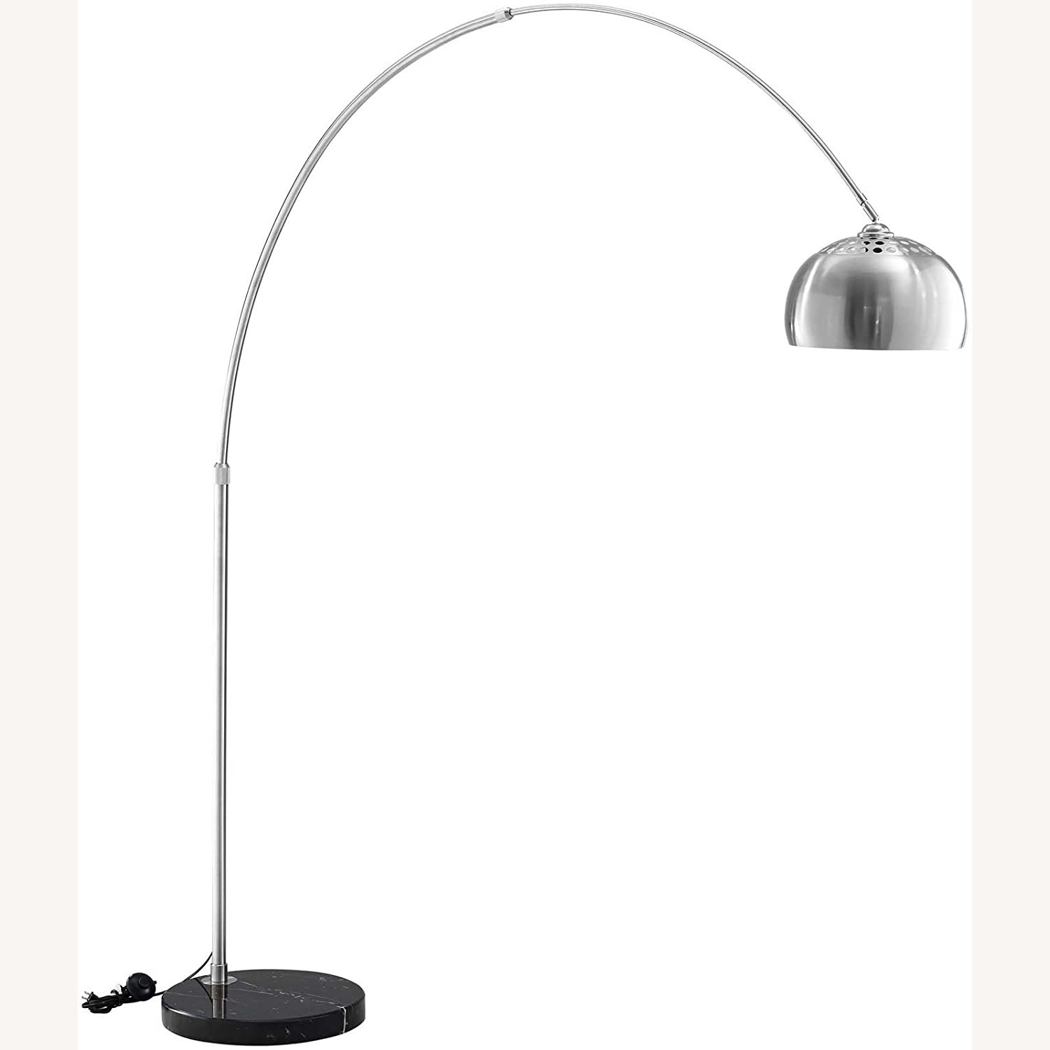 Modway Silver Modern Arc Lamp with Black Marble Base - image-1