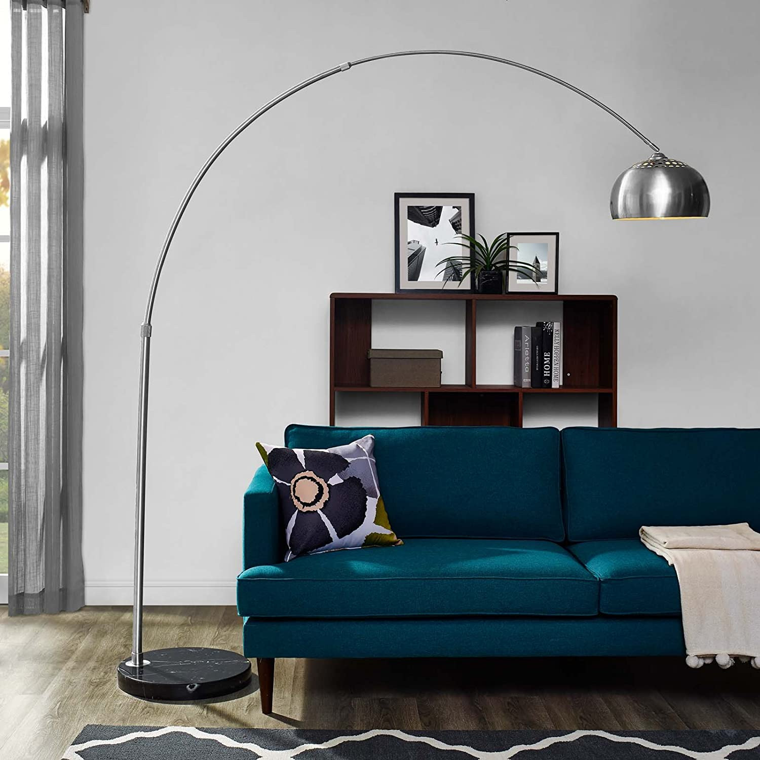 Modway Silver Modern Arc Lamp with Black Marble Base - image-2