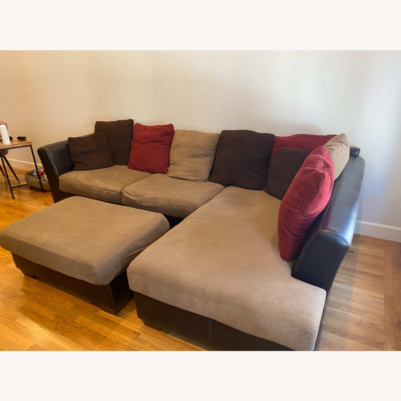 Ashley Furniture Chaise Lounge Sofa & Ottoman - image-3