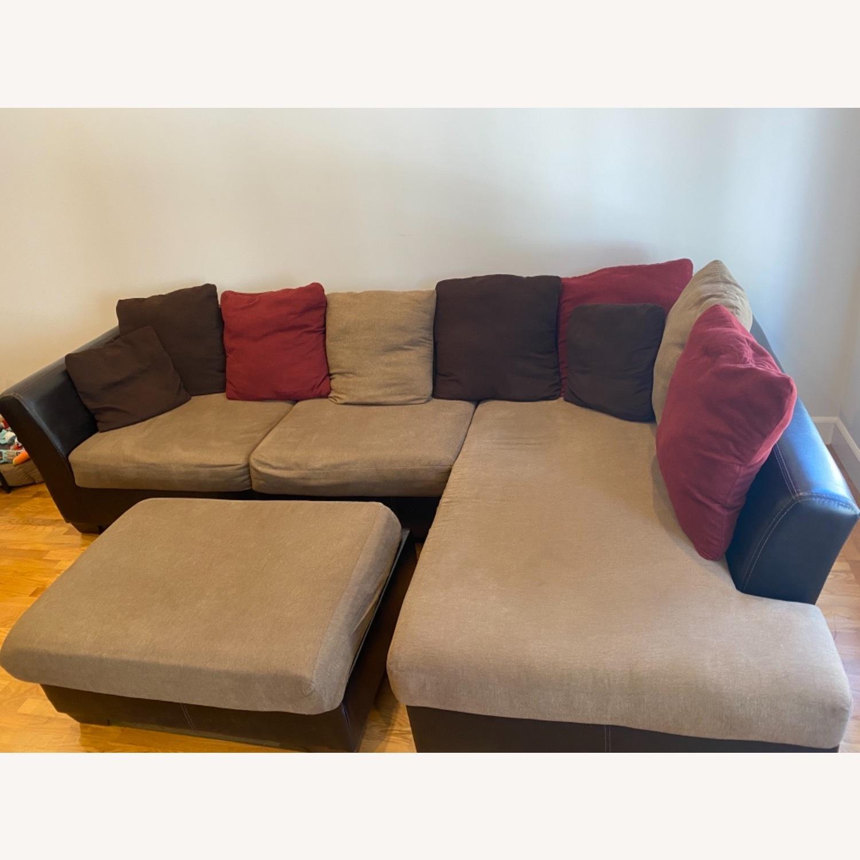 Ashley Furniture Chaise Lounge Sofa & Ottoman - image-2