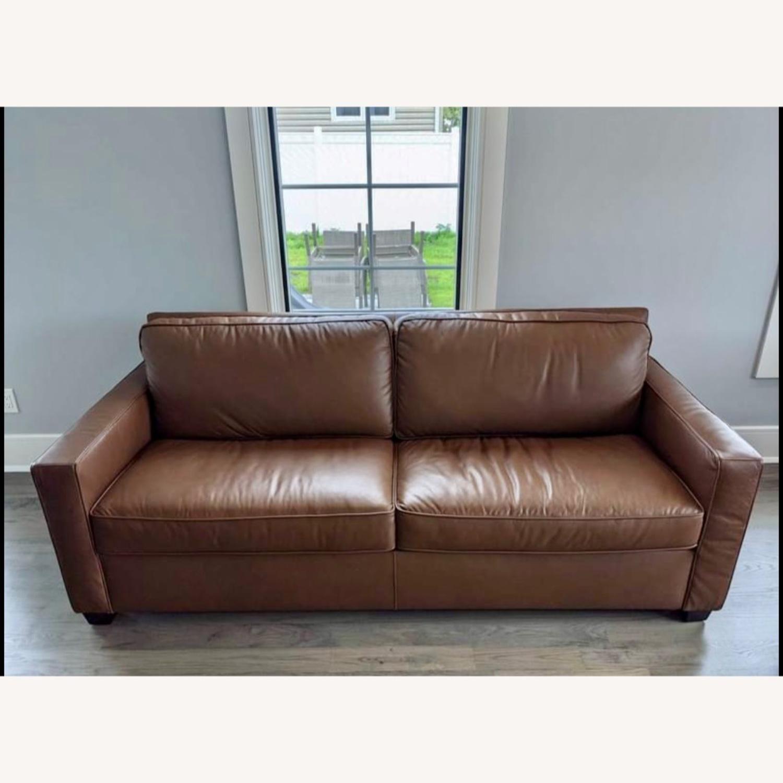 "West Elm Henry 86"" Leather Sofa - image-1"