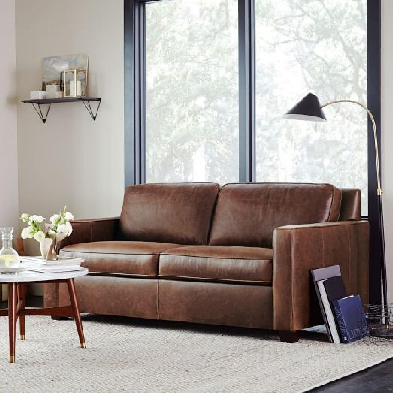 "West Elm Henry 86"" Leather Sofa - image-6"