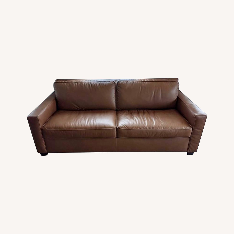 "West Elm Henry 86"" Leather Sofa - image-0"