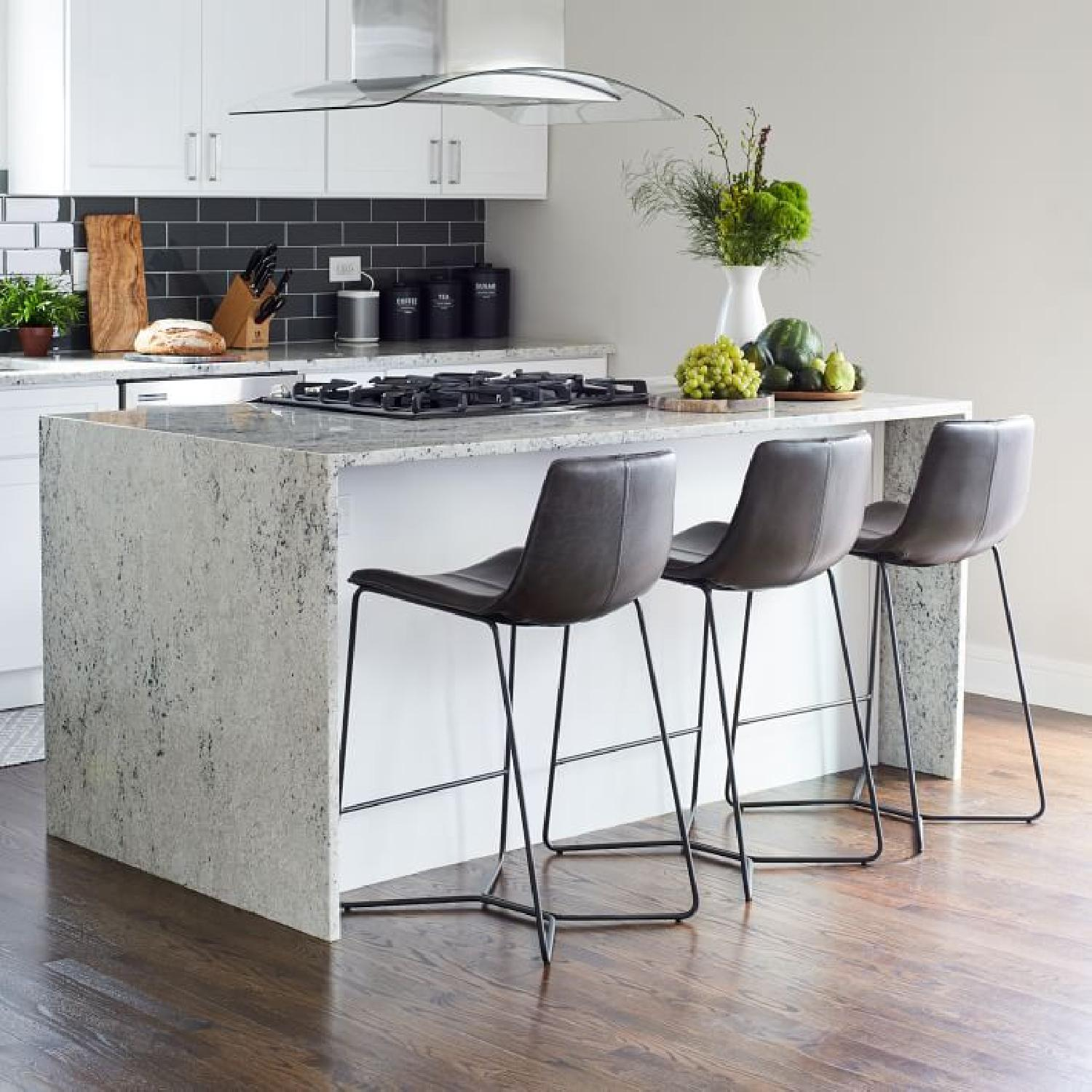 West Elm Slope Leather Counter Stools - image-5