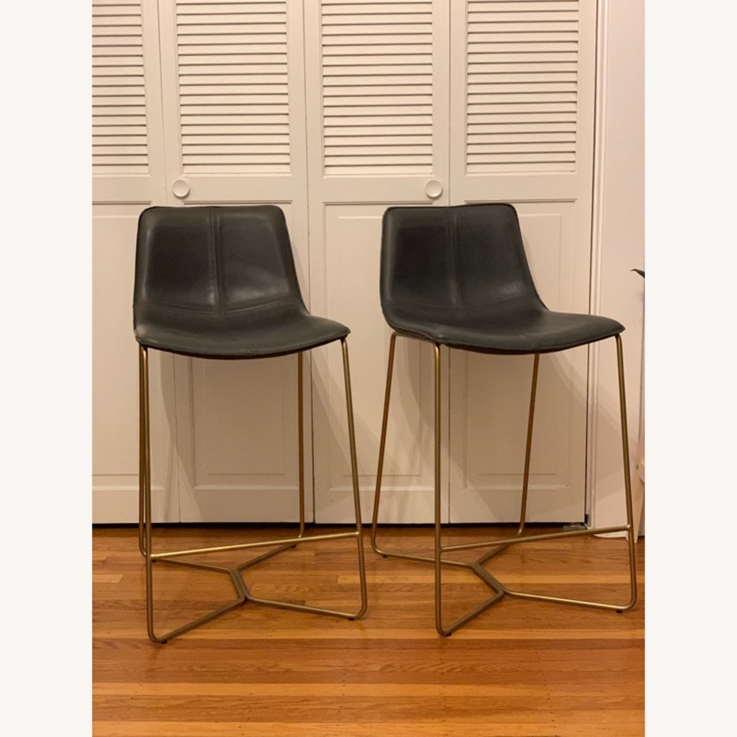 West Elm Slope Leather Counter Stools - image-1