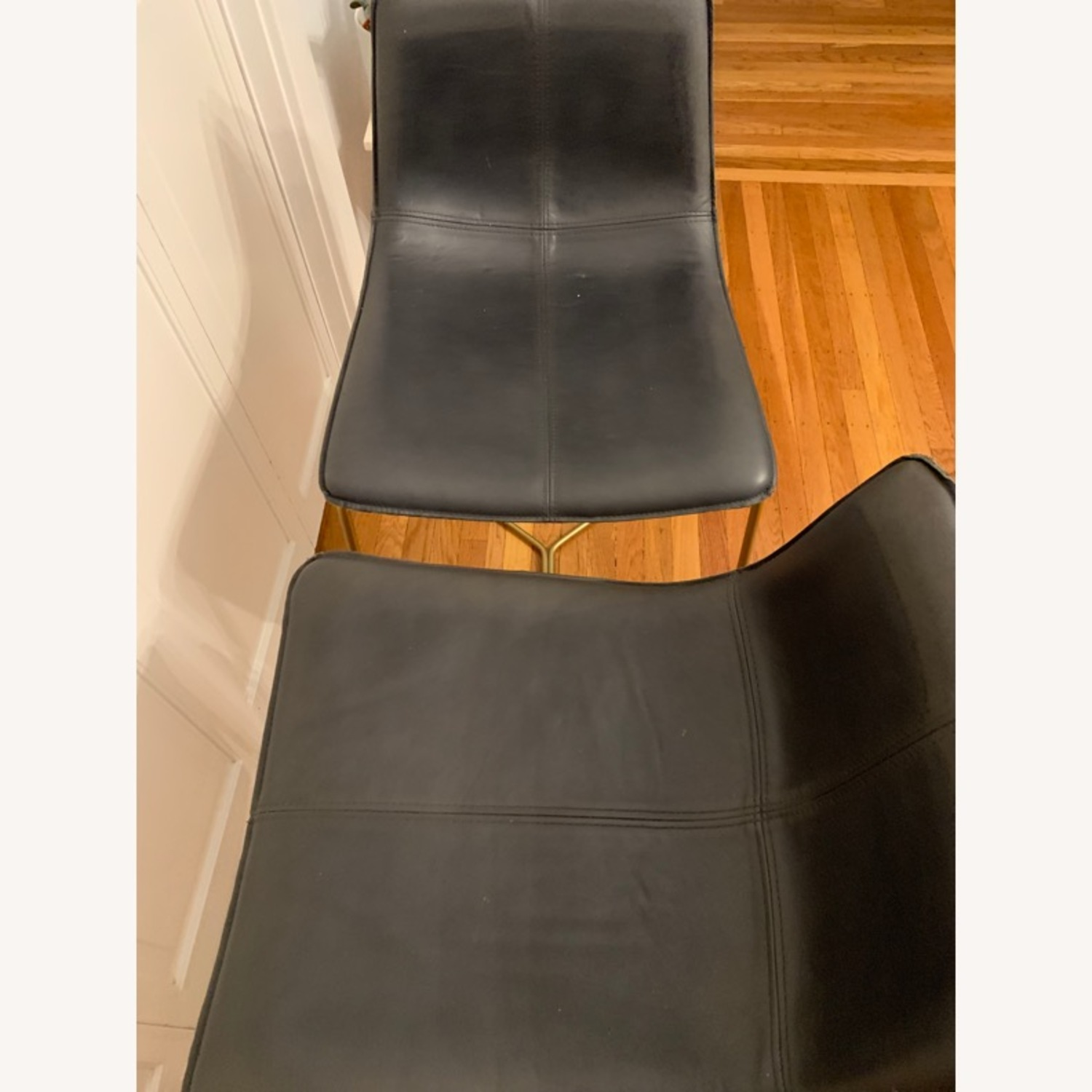 West Elm Slope Leather Counter Stools - image-3