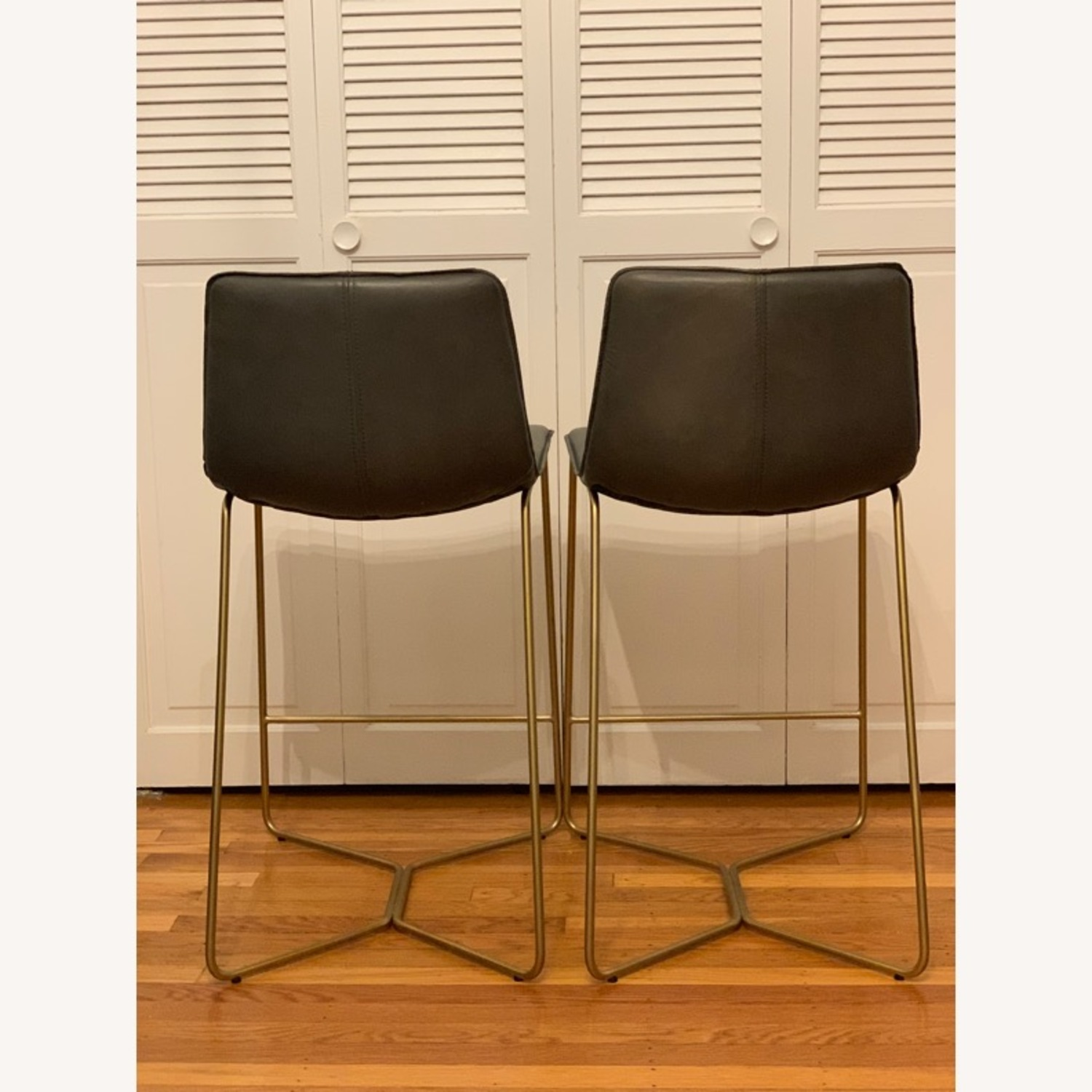 West Elm Slope Leather Counter Stools - image-2