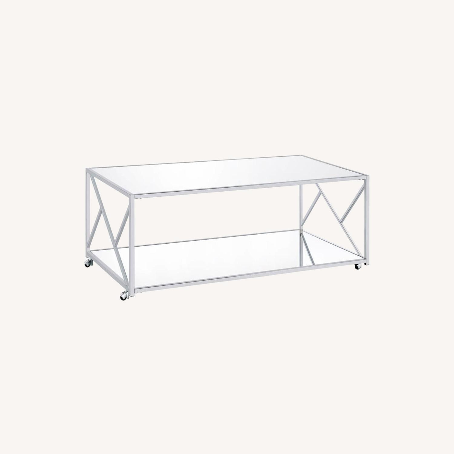 3Piece Occasional Table Set In Clear Mirror Finish - image-5