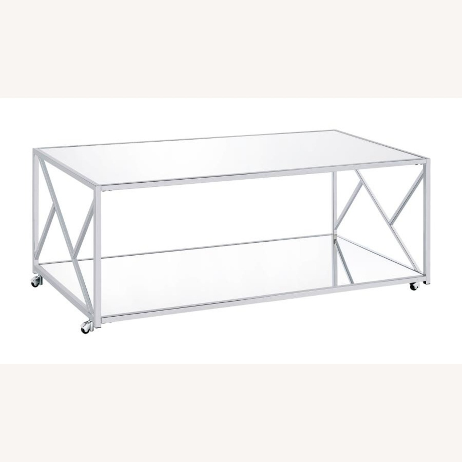 3Piece Occasional Table Set In Clear Mirror Finish - image-0