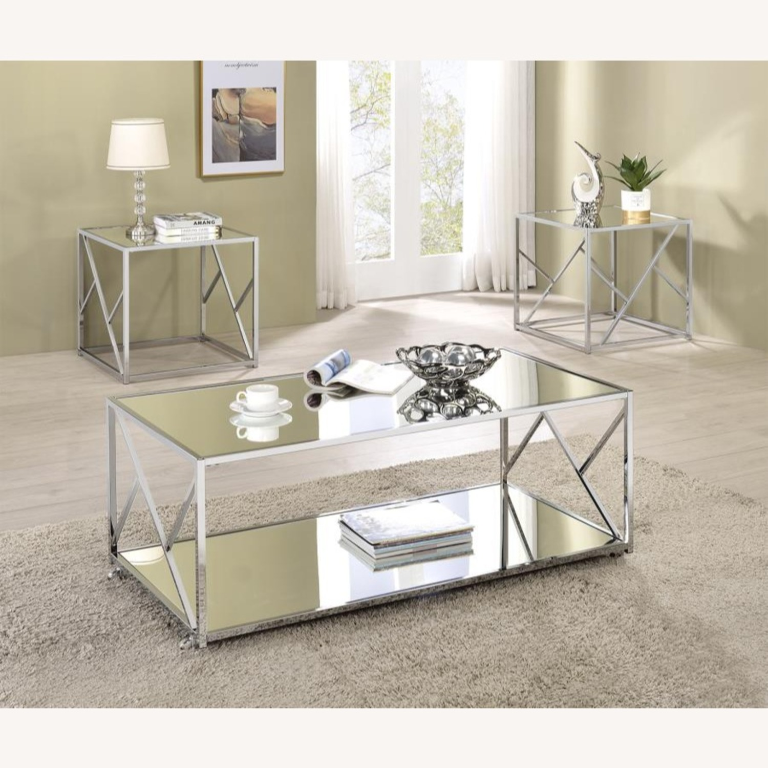 3Piece Occasional Table Set In Clear Mirror Finish - image-3