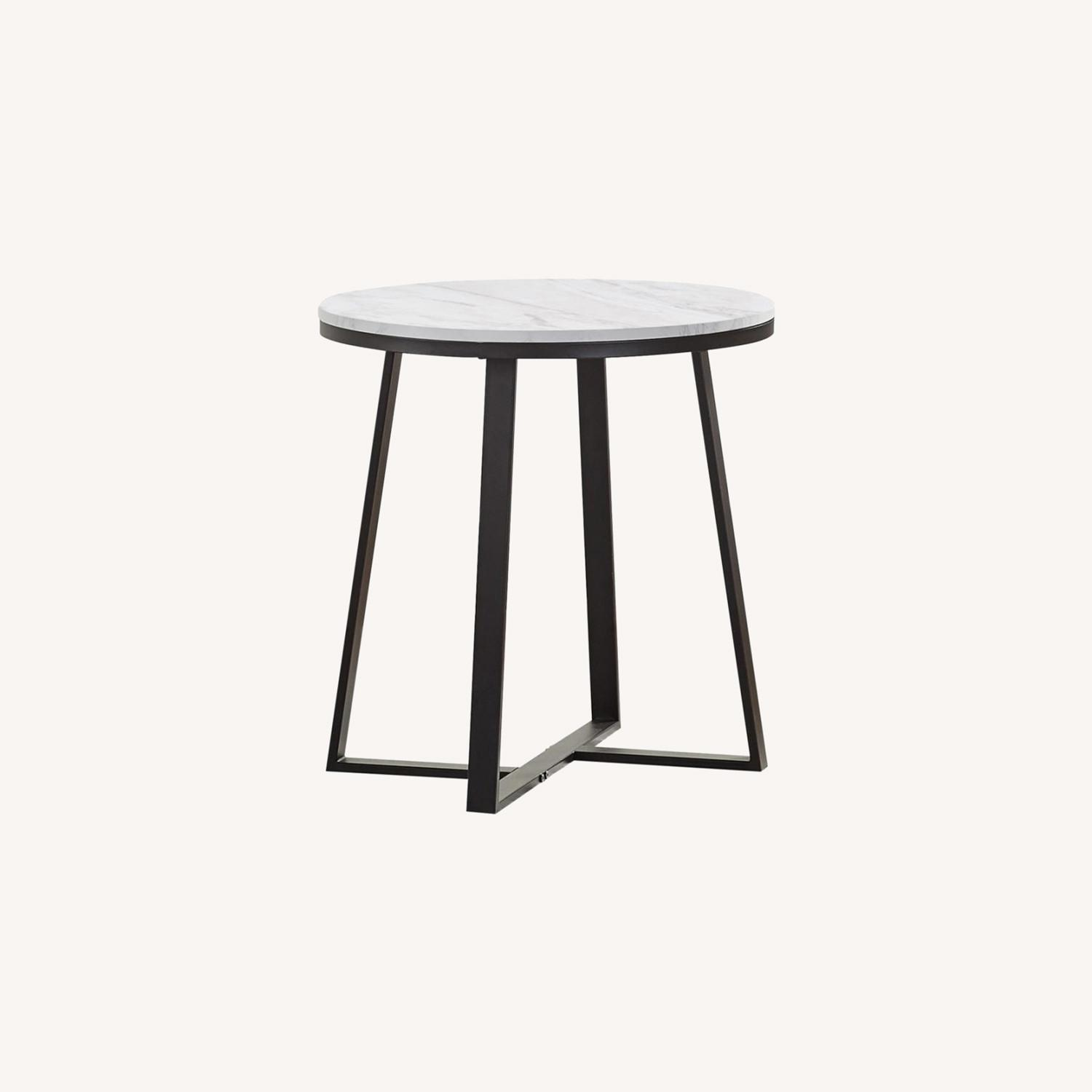 End Table In Faux Marble Top & Matte Black Finish - image-4