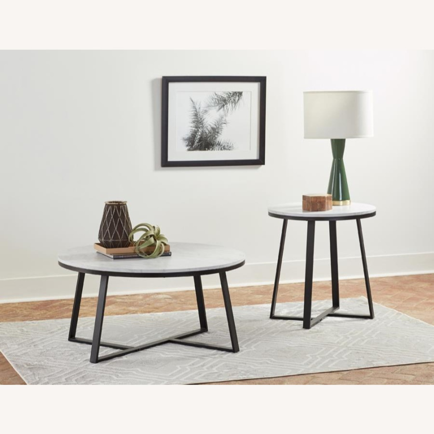 End Table In Faux Marble Top & Matte Black Finish - image-2