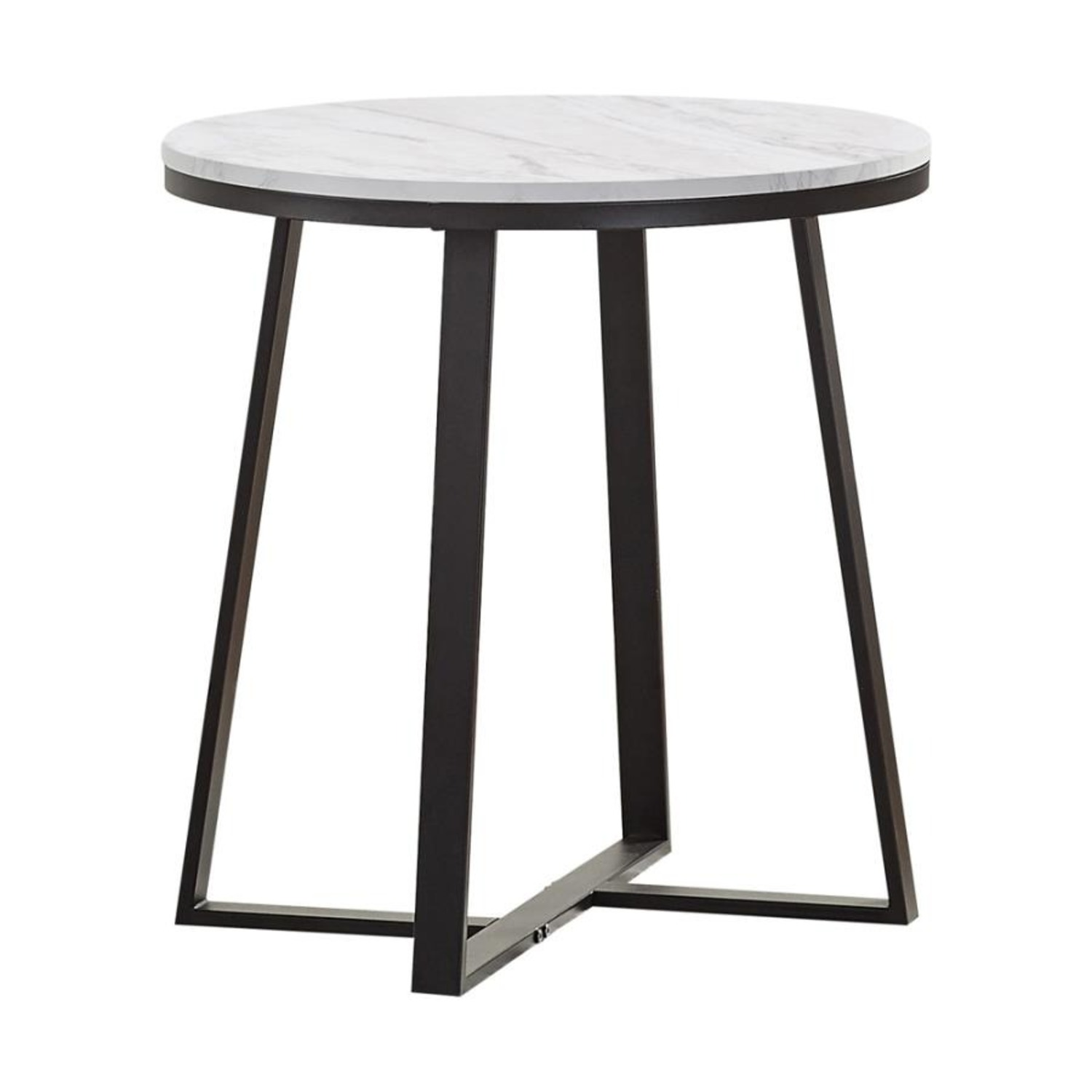 End Table In Faux Marble Top & Matte Black Finish - image-0