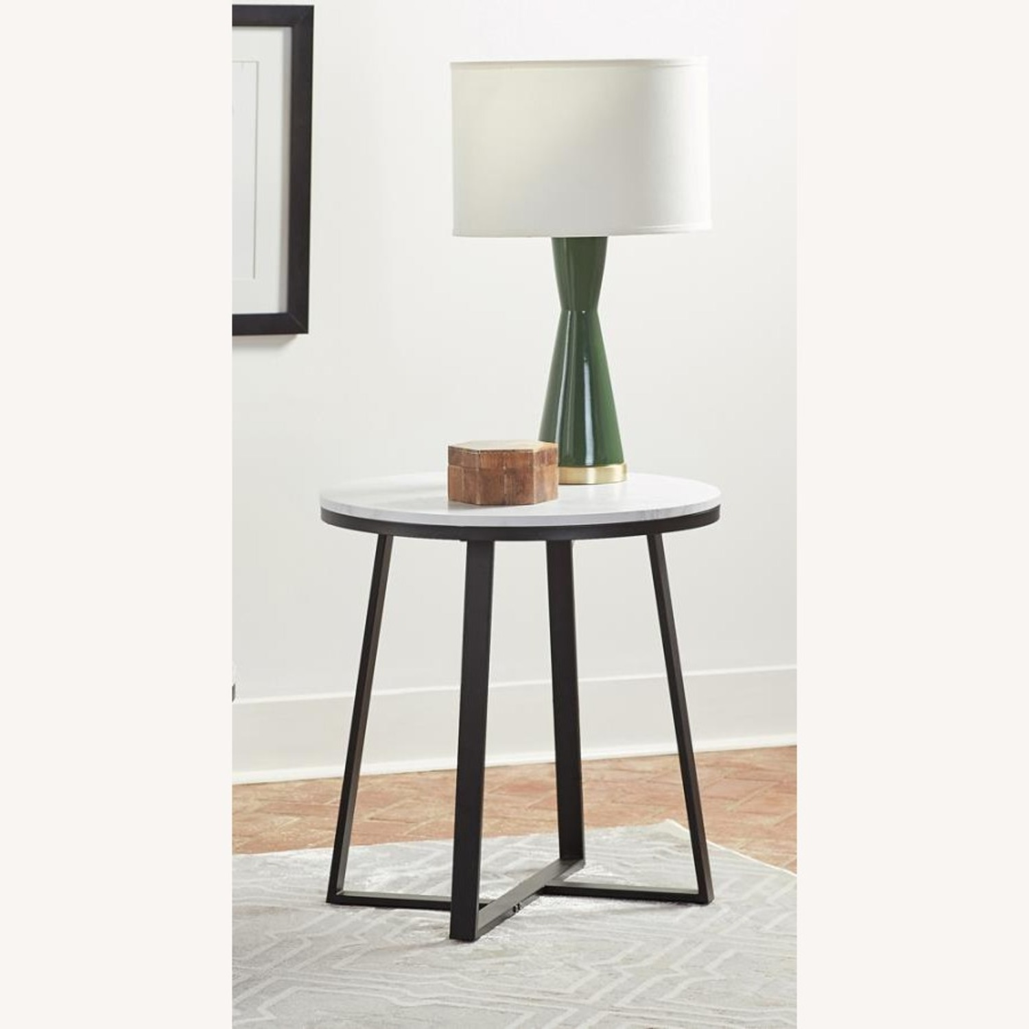 End Table In Faux Marble Top & Matte Black Finish - image-1