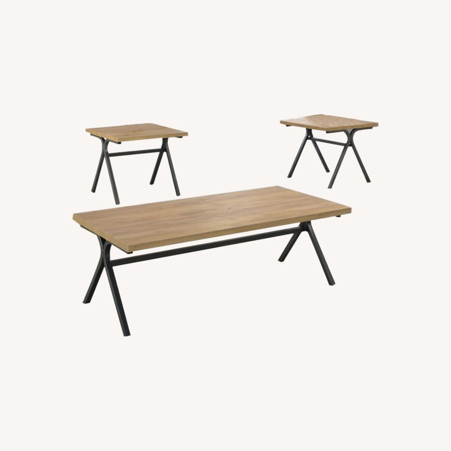 3-Piece Occasional Table Set In Golden Oak Finish - image-0