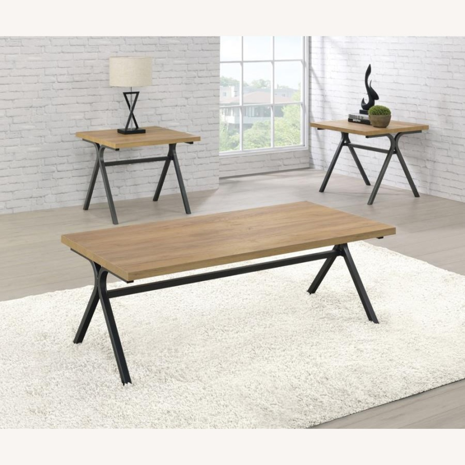 3-Piece Occasional Table Set In Golden Oak Finish - image-1