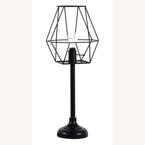 Used Industrial Decor Table Lamp In Black Metal Finish for sale on AptDeco