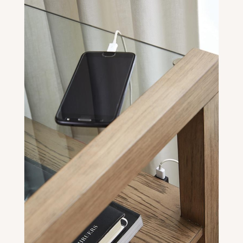 Nightstand In Grey Oak W/ Floating Glass Top - image-3