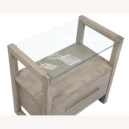 Used Nightstand In Grey Oak W/ Floating Glass Top for sale on AptDeco