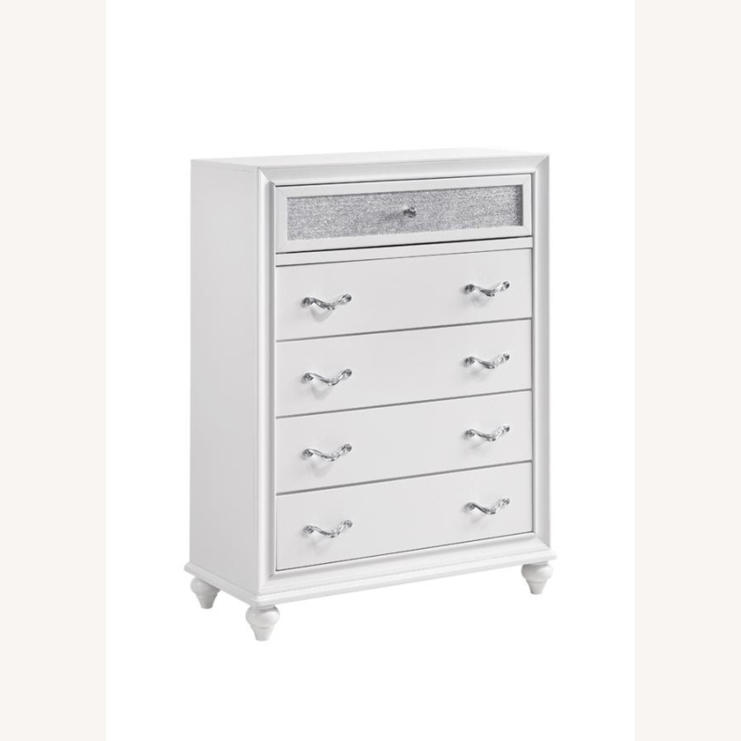 Chest In White W/ Glittering Drawer Fronts - image-0