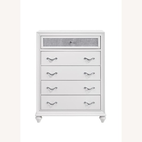 Used Chest In White W/ Glittering Drawer Fronts for sale on AptDeco