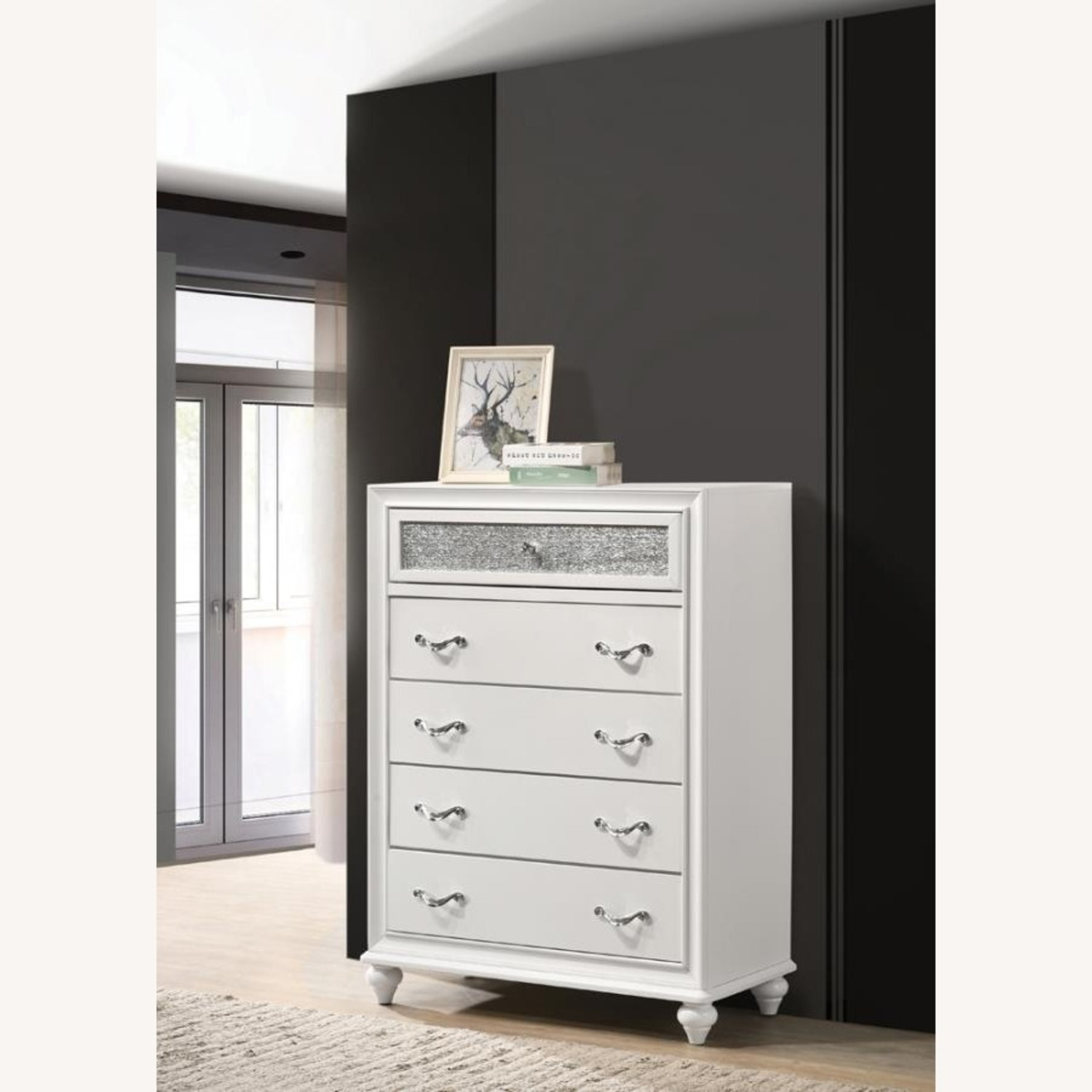 Chest In White W/ Glittering Drawer Fronts - image-5