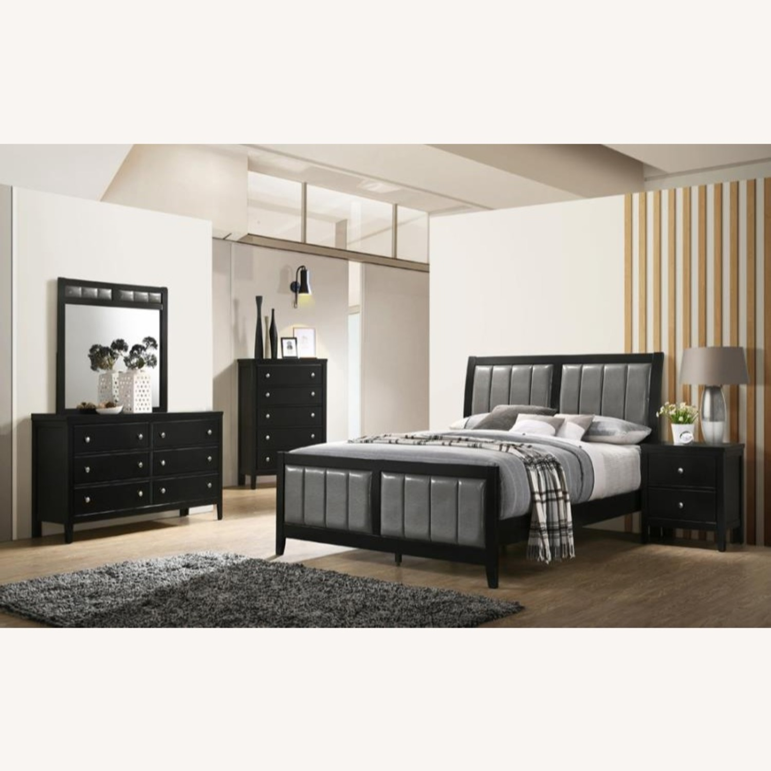Full Bed In Grey Fabric W/ Black Wood Finish - image-2