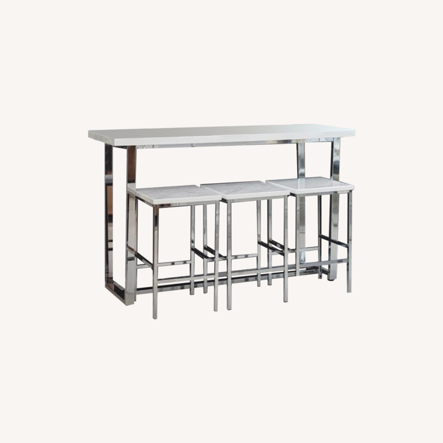 4-Piece Counter Height Table Set In White Marble - image-0