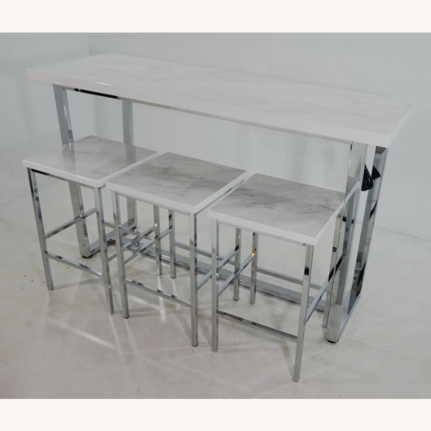 4-Piece Counter Height Table Set In White Marble - image-2