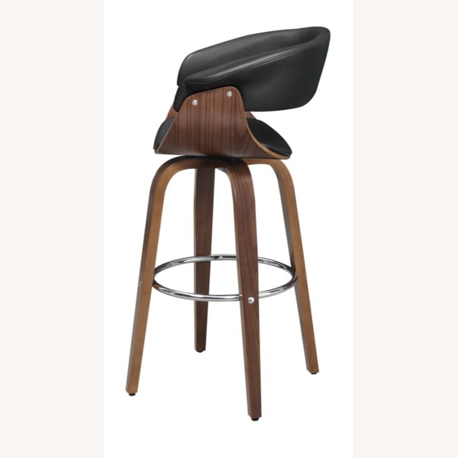 Swivel Bar Stool In Black Faux Leather Upholstery - image-2