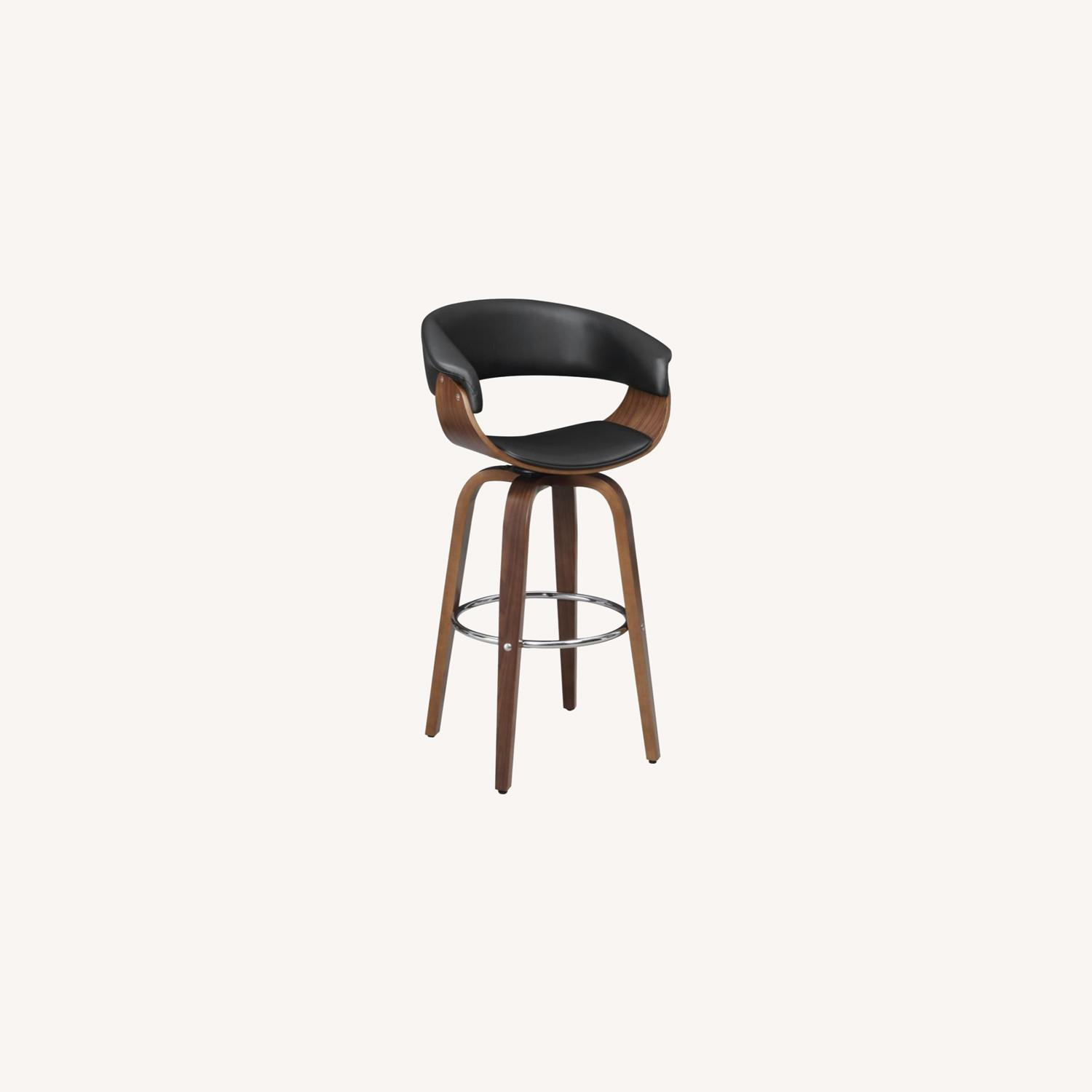 Swivel Bar Stool In Black Faux Leather Upholstery - image-9