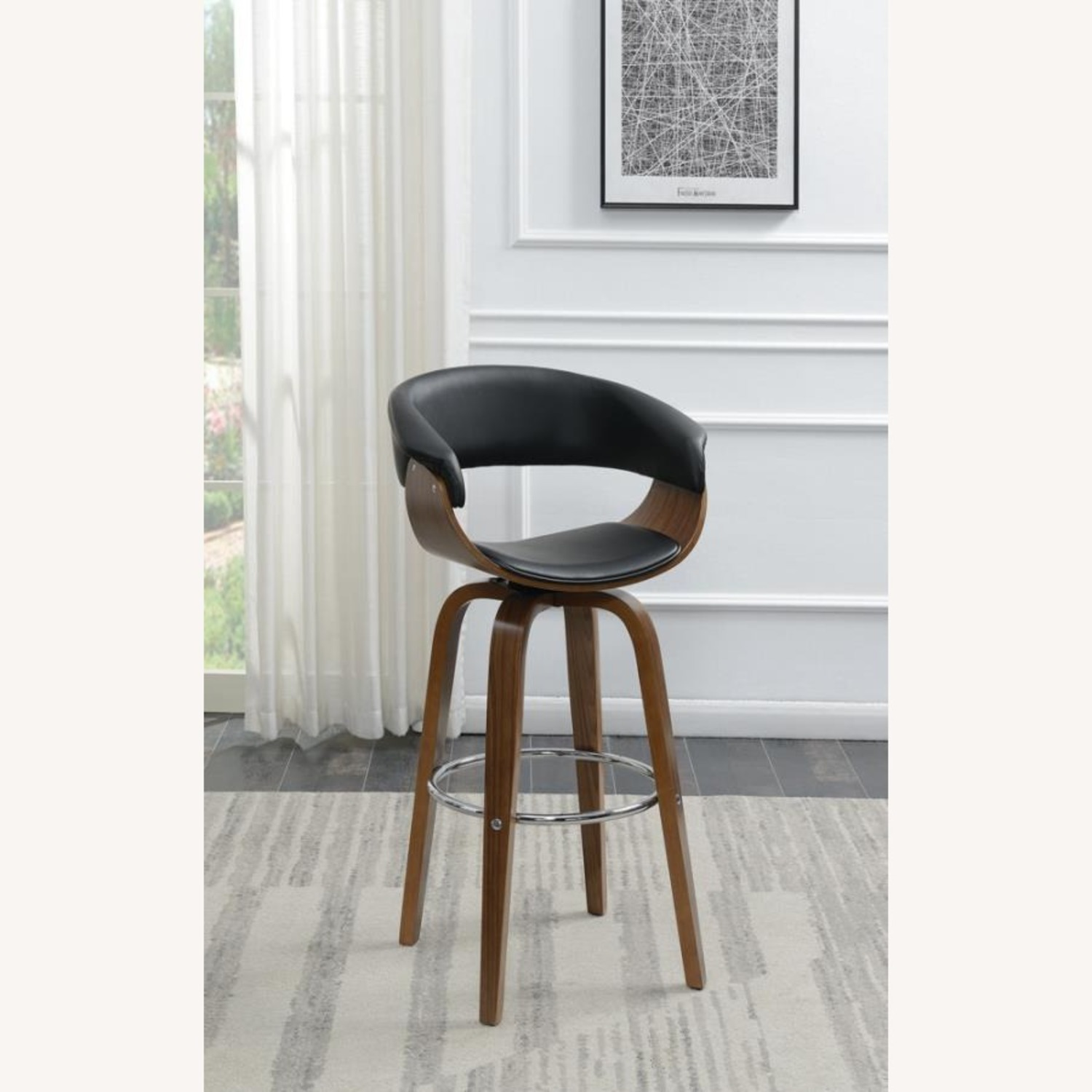 Swivel Bar Stool In Black Faux Leather Upholstery - image-6