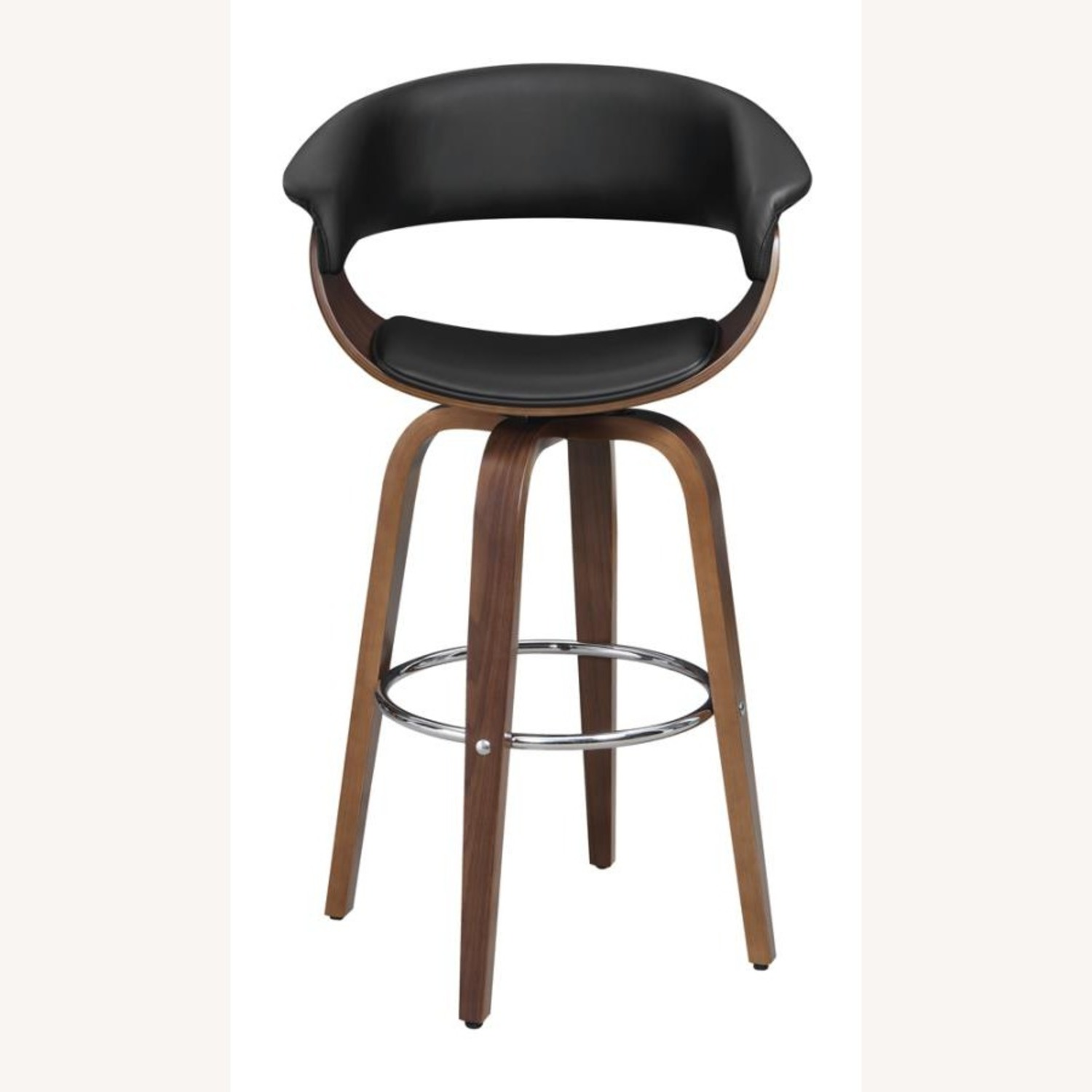 Swivel Bar Stool In Black Faux Leather Upholstery - image-1