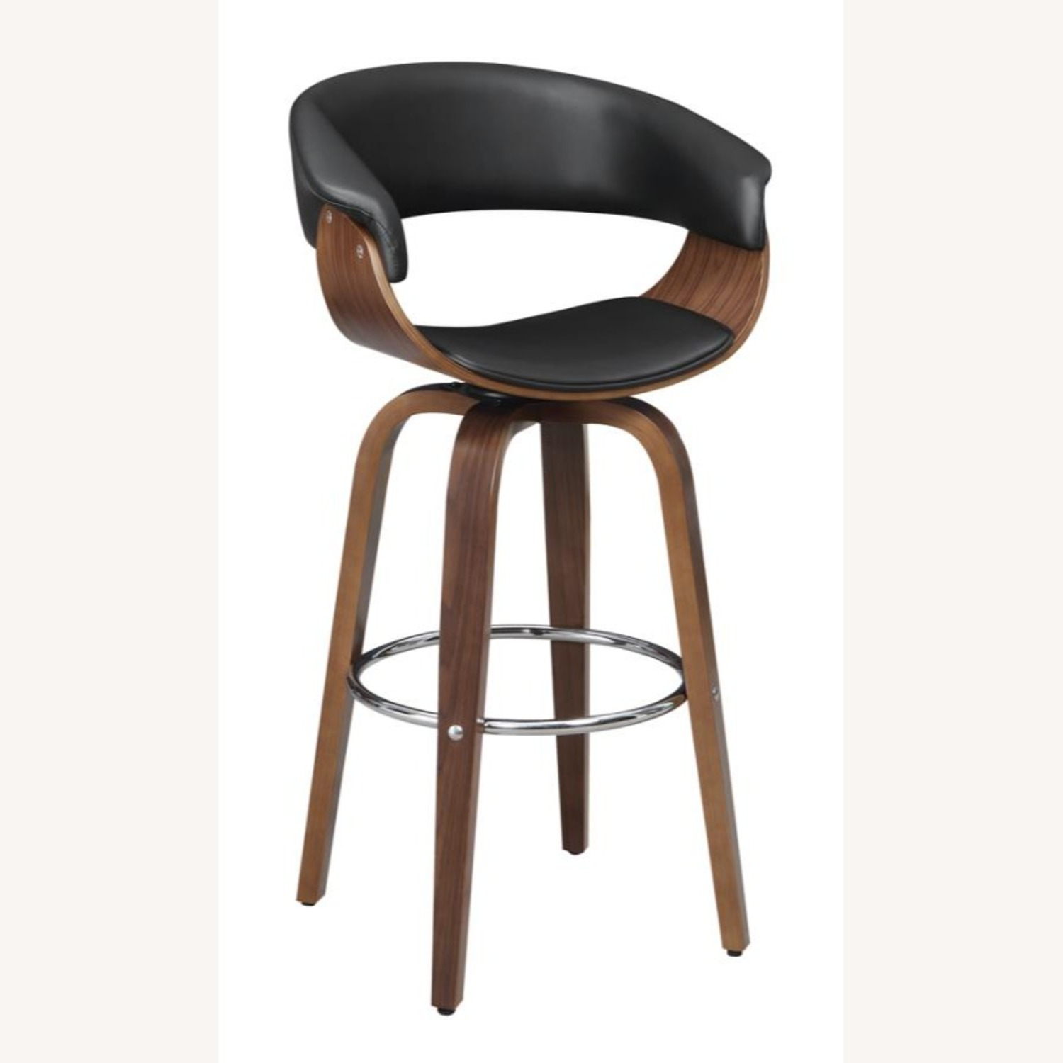 Swivel Bar Stool In Black Faux Leather Upholstery - image-0